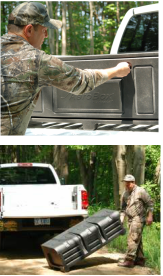 Truck bed cargo box for hunting, fishing, camping, sports