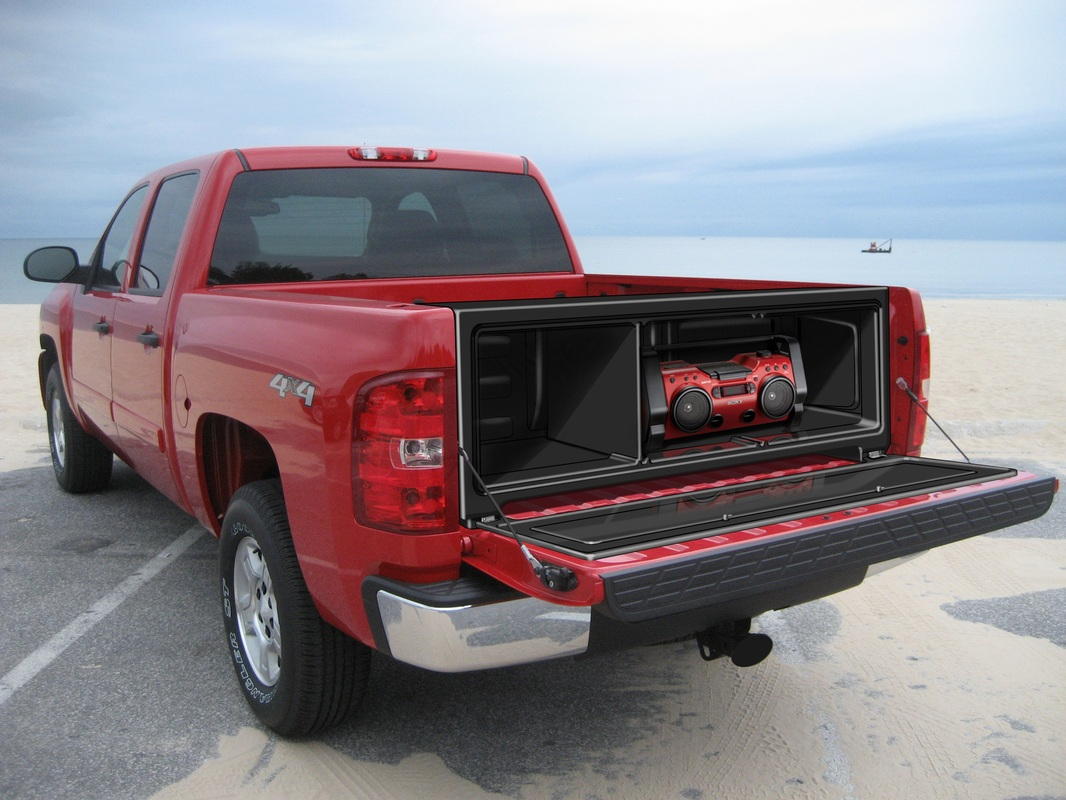 Rear mounted truck bed cargo box