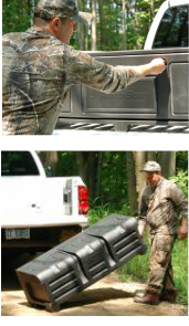 Truck bed cargo box for sportsmen