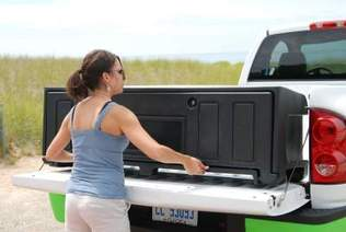 Removable truck bed storage box