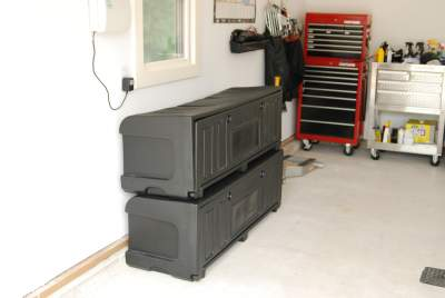 Pickup truck bed storage containers