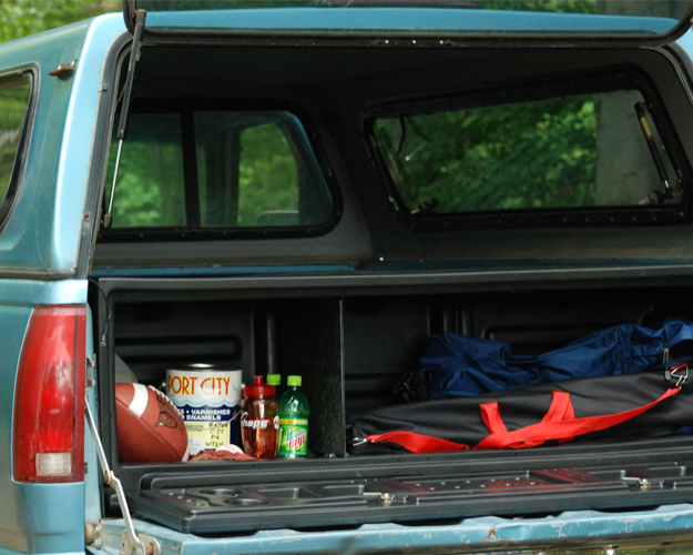 Camping equipment box for trucks