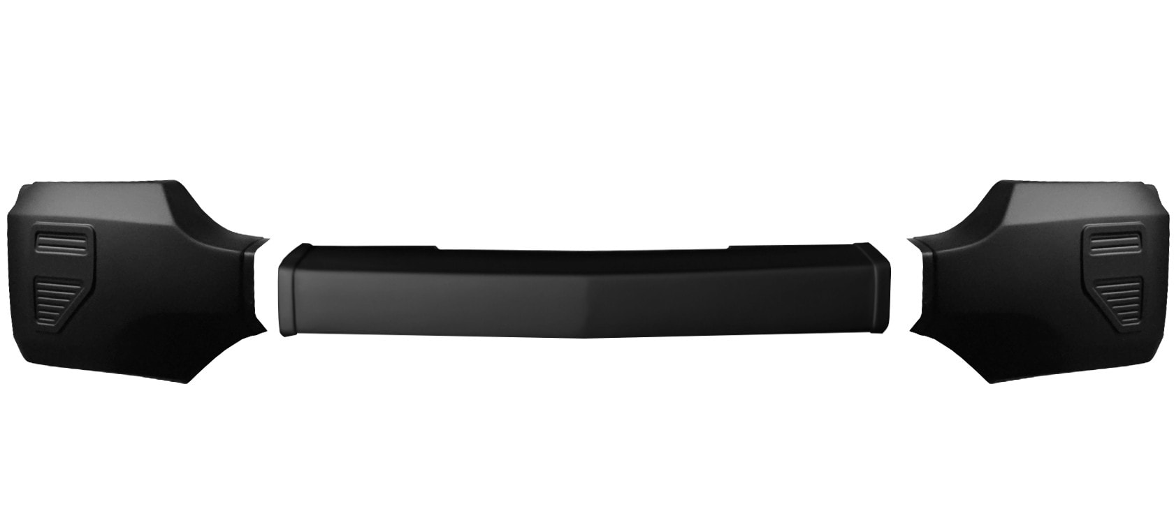 Matte Black Front BumperShellz - Truck Bumper Covers for a 2016-2017 Chevy Silverado without fog lamps and without parking sensors