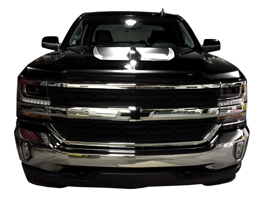 Front BumperShellz - Truck Bumper Covers, Before Image of Install on a 2016 - 2017 Chevy Silverado to black out front bumper by covering chrome